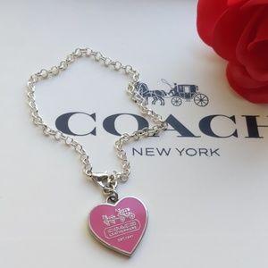 Coach Pink Heart Charm W Silver Plated Bracelet